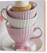 Cupcake On Top Of Stack Of Cups Wood Print