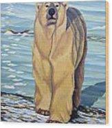 Curiosity - Polar Bear Painting Wood Print