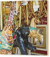 Curious Carousel Beasts Wood Print