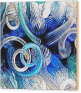 Curls Of Blue And Aqua Wood Print