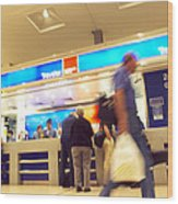 Currency Exchange At An Airport Wood Print