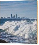 Currumbin Beach Waves On Rocks Wood Print