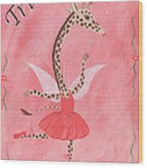 Custom Name Child's Giraffe Ballerina Wood Print by Kristi L Randall