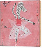 Custom Name Child's Zebra Ballerina Wood Print by Kristi L Randall