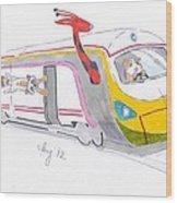 Cute Cartoon High Speed Train And Animals Wood Print