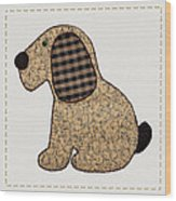 Cute Country Style Gingham Dog Wood Print by Tracie Kaska