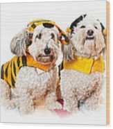 Cute Dogs In Halloween Costumes Wood Print
