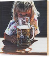 Cute Little Girl At Beer Garden Munich Wood Print
