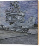 Cvn 65 Uss Enterprise Wood Print by Sarah Howland-Ludwig