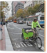 Cycle Rickshaw On Market Street In San Francisco Wood Print