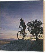 Cyclist At Sunset, Northern Arizona Wood Print