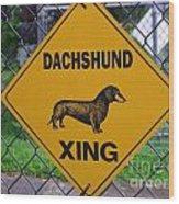 Dachshund Crossing Wood Print