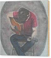Dad And His Guitar Wood Print