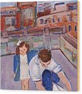 Dad And Me On Rooftop On Hoe Street Brooklyn Wood Print