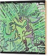 Dada Doodle In Green Wood Print