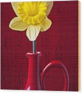 Daffodil In Red Pitcher Wood Print