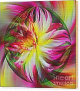 Dahlia Flower Energy Wood Print