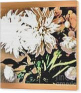 Dahlias Abstract Wood Print