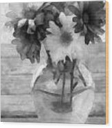 Daisy Crazy Bw Revisited Wood Print