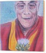 Dalai Lama-peace And Harmony Wood Print