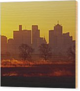 Dallas Skyline At Sunrise Wood Print by Jeremy Woodhouse