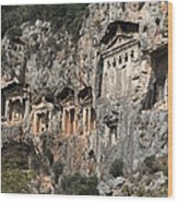 Dalyan Rock Tombs Turkey Wood Print by Julie L Hoddinott