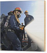 Damage Controlmen Conduct Fire Hose Wood Print