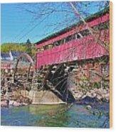 Damaged Covered Bridge Wood Print