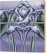 Dance Of The Blue Calla Lilies Iv Wood Print