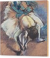 Dancer Fastening Her Pump Wood Print by Edgar Degas