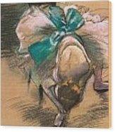 Dancer Tying Her Shoe Ribbons Wood Print