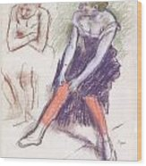 Dancer With Red Stockings Wood Print