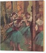Dancers Pink And Green Wood Print by Edgar Degas
