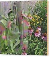 Dancing Girl In Flowers Wood Print