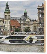 Danube Riverboat In Budapest Wood Print