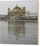 Darbar Sahib And Sarovar Inside The Golden Temple Wood Print
