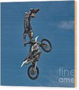 Daredevil Motorcyclist Wood Print