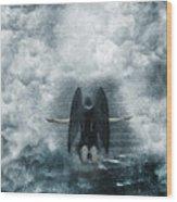 Dark Angel Kneeling On Stairway In The Clouds Wood Print