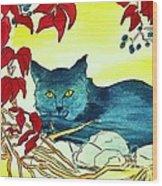 Dark Cat Wood Print