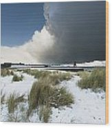Dark Clouds And Blue Sky Over A Red Wood Print