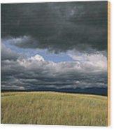 Dark Clouds Gather Over A Prairie Wood Print