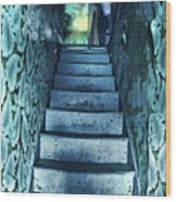 Dark Staircase With Man At Top Wood Print