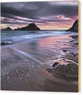 Dark Sunrise On Hidden Bay Wood Print