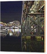 Darling Harbor At Night Wood Print