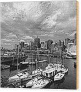 Darling Harbor- Black And White Wood Print