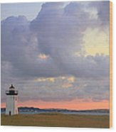 Dawn At Long Point Lighthouse Wood Print