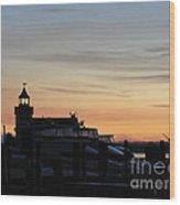 Dawn At Saybrook Dock Wood Print