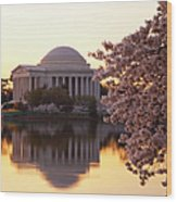 Dawn Over The Jefferson Memorial Wood Print