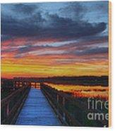 Dawn Skies At The Fishing Pier Wood Print