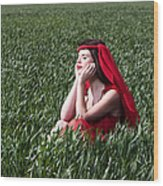 Day Dreams Woman In Red Series Wood Print